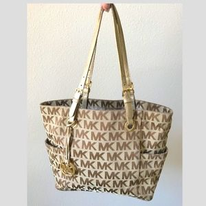 Michael Kors sig canvas  tan & gold leather tote
